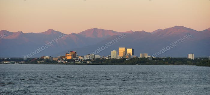 Cook Inlet Anchorage Alaksa Downtown City Skyline