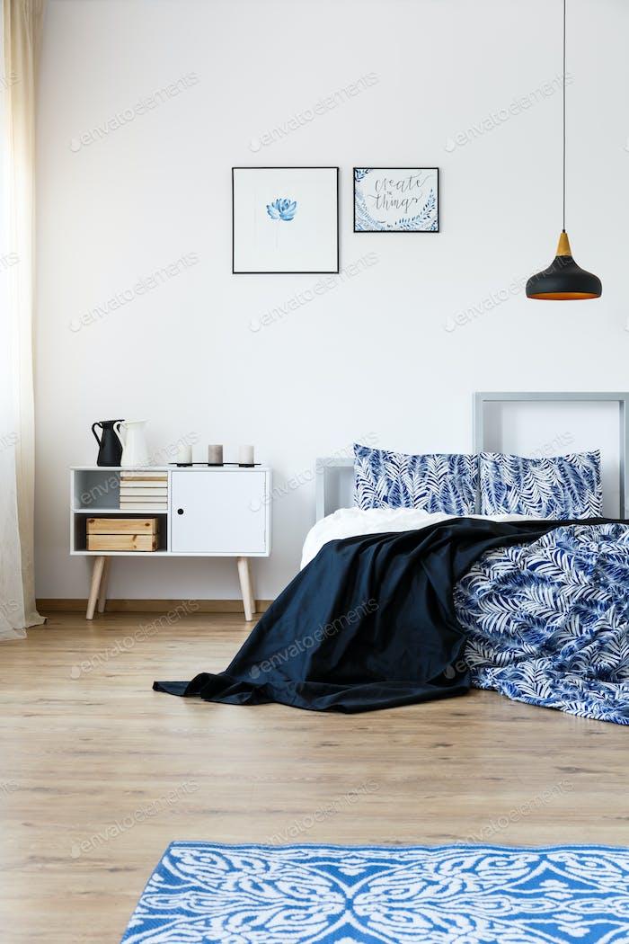 Blue accessories in bedroom