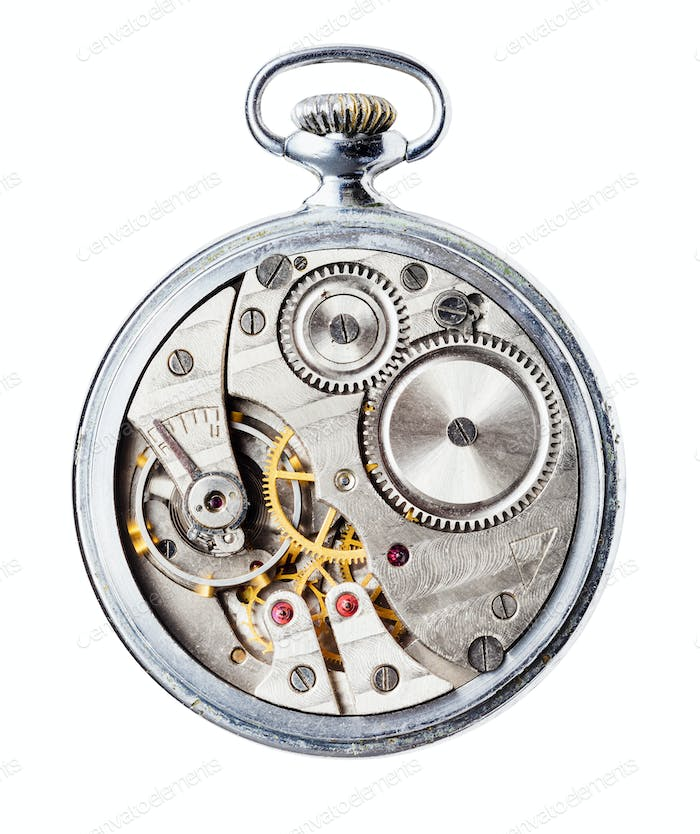 mechanical Pocket watch without back cover cutout