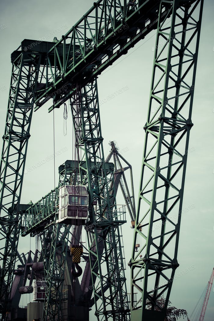 Industrial cranes in Gdansk shipyards