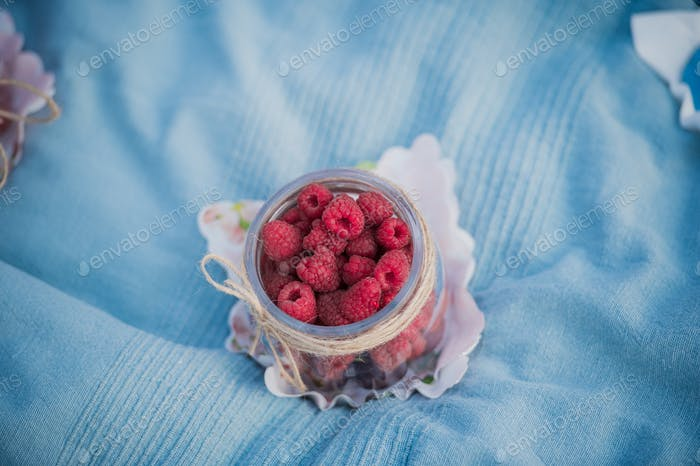Delicious red raspberries laying in a small jar during picnic in park outdoors