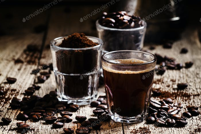 Coffee beans, ground coffee, espresso in a glass
