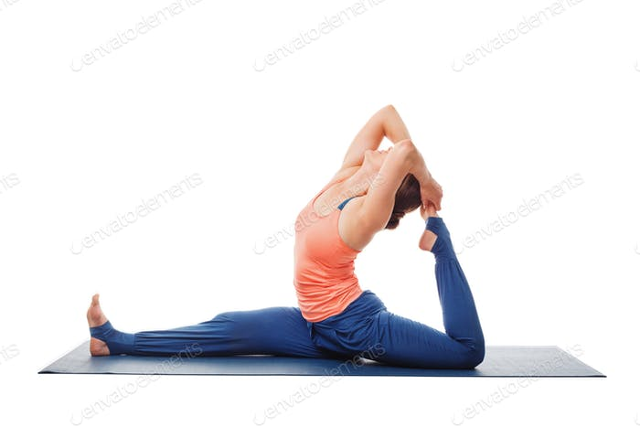 Woman doing Yoga asana Hanumanasana - monkey pose