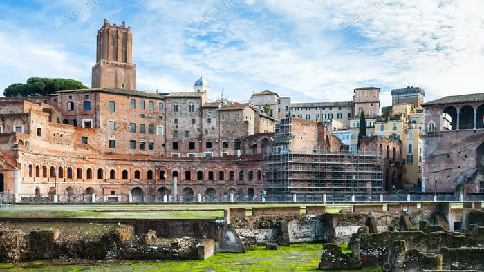 ancient ruins of trajan's market in roman forum