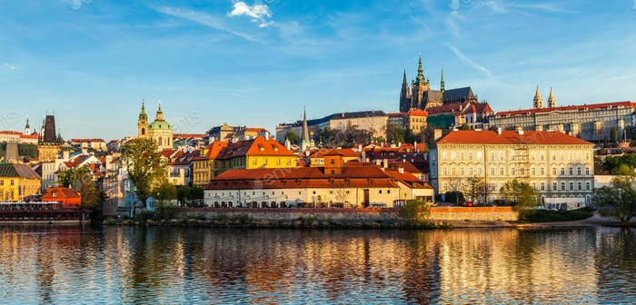 View of Gradchany Prague Castle and St. Vitus Cathedral over Vlta