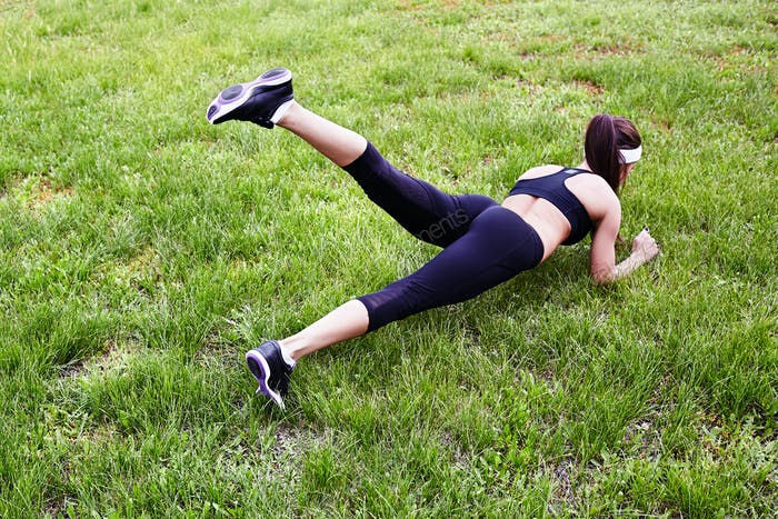 Exercising on lawn