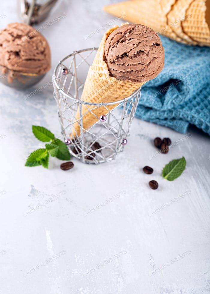 Delicious coffe ice cream for dessert