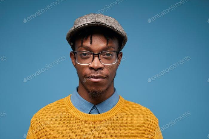 Modern African-American Man on Blue