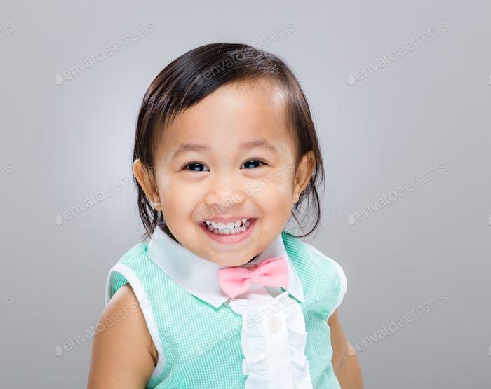 Multiracial baby girl smile