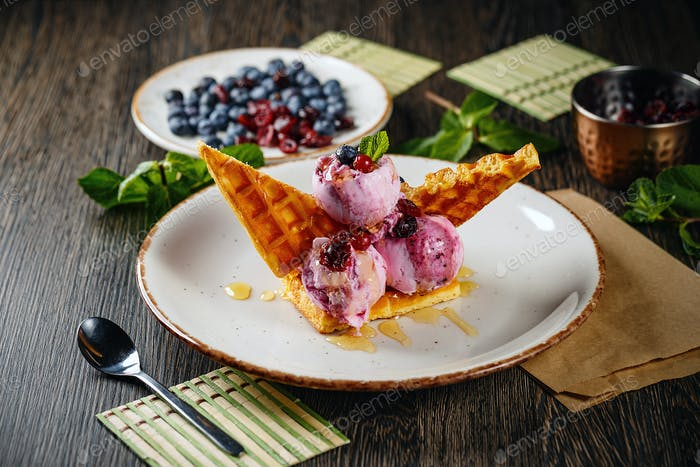 Waffle and forest fruit ice-cream