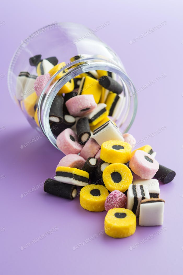 Mixed liquorice candies.