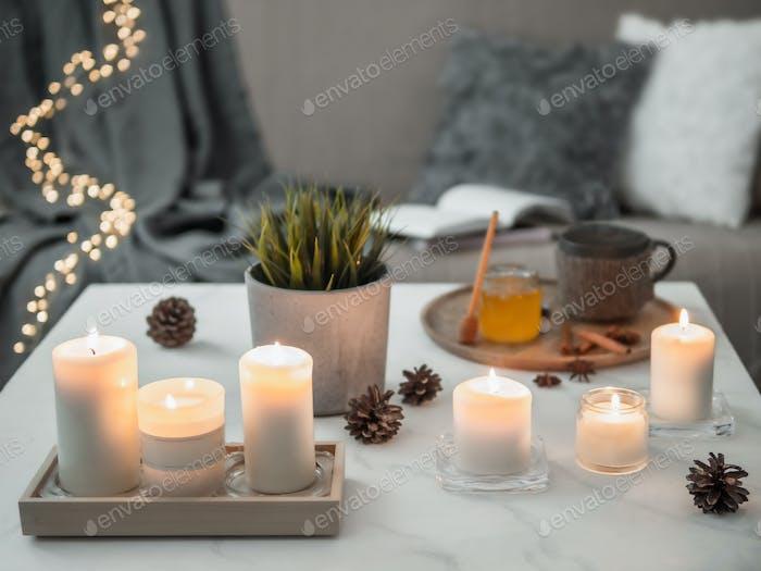 Hygge, lagom, cozy home concept
