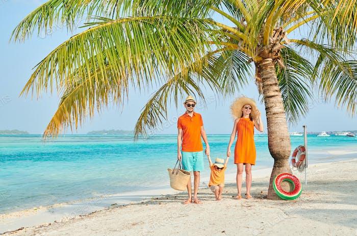 Family of three on beach under palm tree