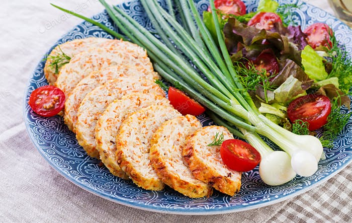 Chicken meat loaf with onion and carrot. Healthy meatloaf.