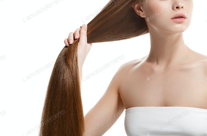 Woman neck shoulder lips nose long healthy hair