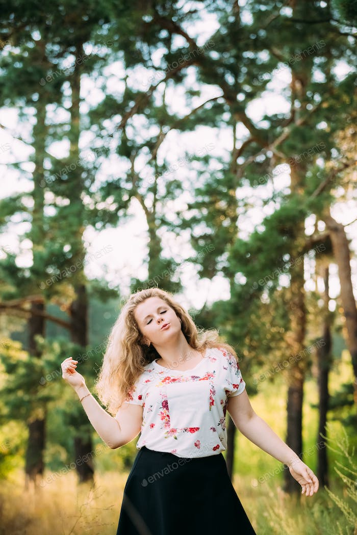 Young Pretty Plus Size Caucasian Happy Smiling Laughing Girl Wom