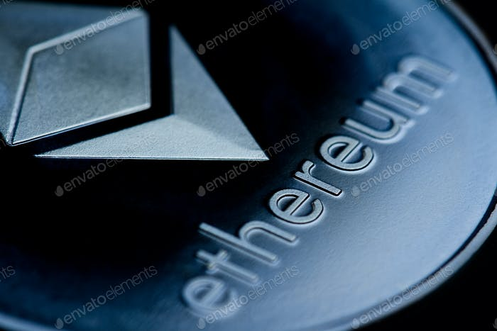 close up of on a blue Moneda Logo ethereum