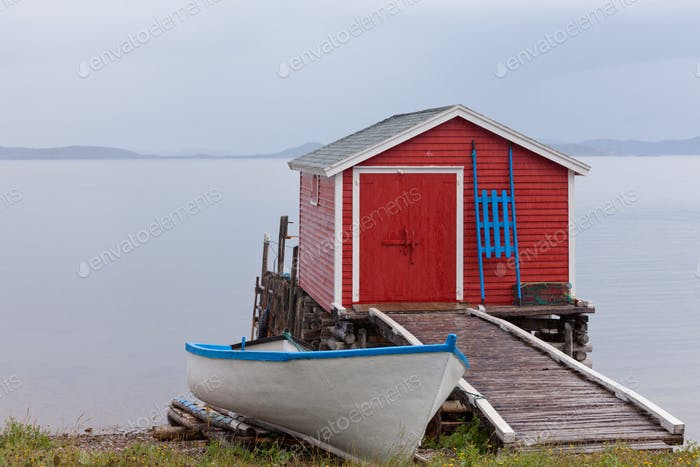 Red Newfoundland boat house NL Atlantic Canada