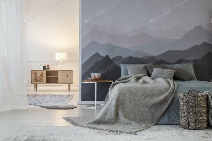 Spacious warm bedroom interior