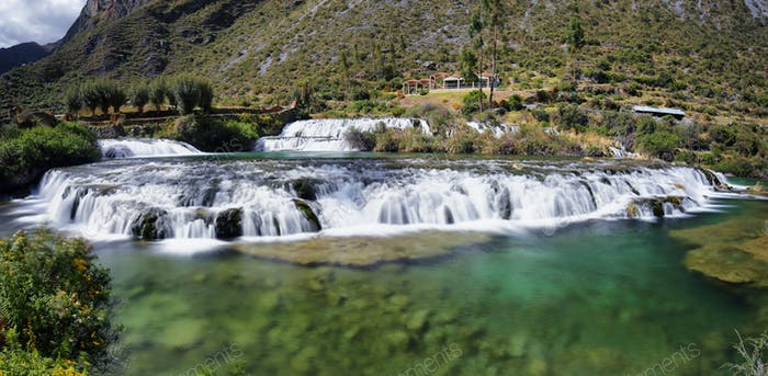 Clear waters of Cañete river in Huancaya village, Peru