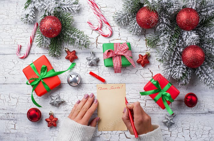 Gift boxes and letter to Santa
