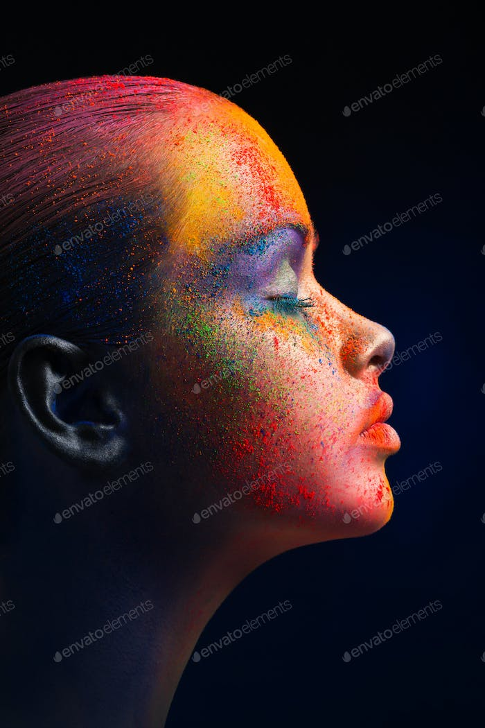 Creative art of make up, fashion model closeup portrait