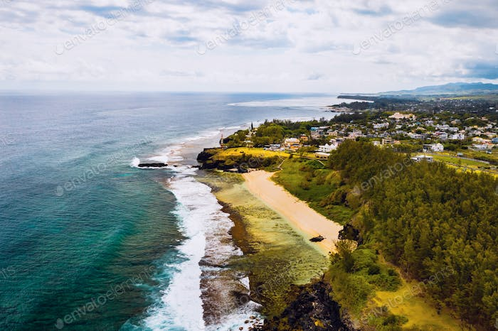 Aerial view of the cliffs of the spectacular Gris Gris Beach, in southern Mauritius. Here, is the