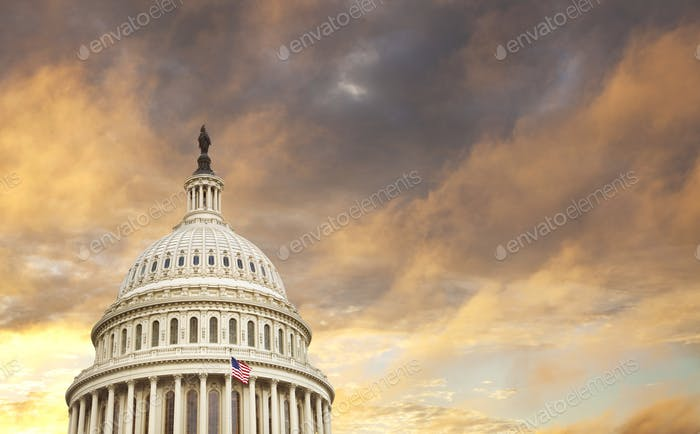 United States Capitol dome with dramatic clouds