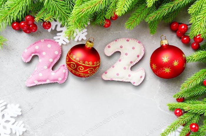 Flat lay design of New 2020 Year greeting card of handmade sewed