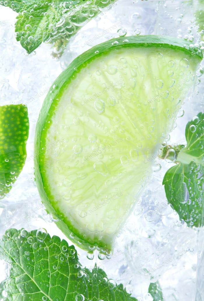 close-up view of mojito cocktail