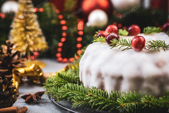 Traditional Fruit Cake on Christmas Table