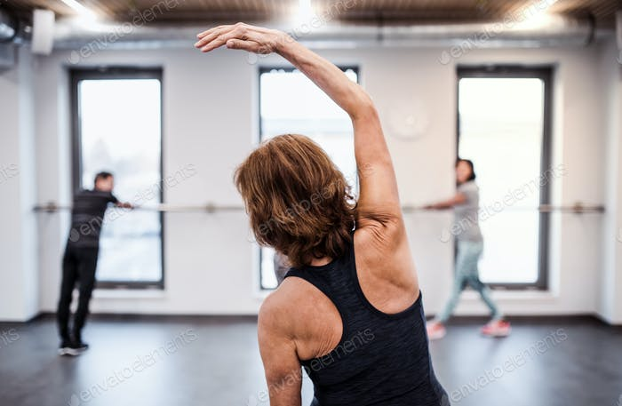 A rear view of senior woman in gym doing exercise. Copy space.