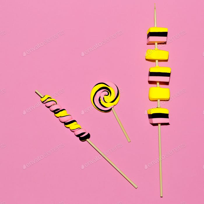 Marshmallow fashion sweets Pink Candy Mood Flatlay design