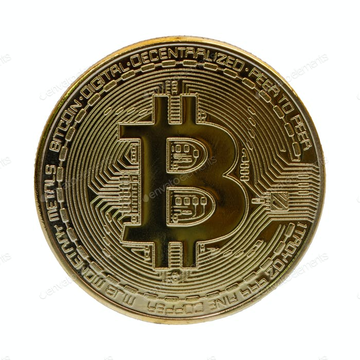 Gold bitcoin on a white background