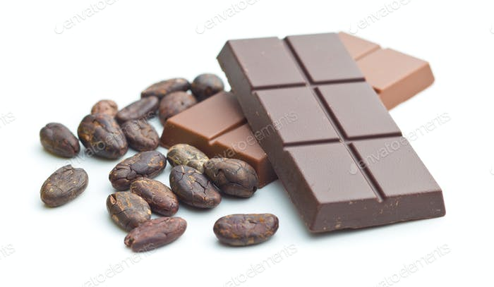 chocolate bar and cocoa beans.