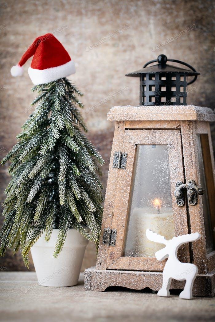 Candlestick. Christmas lantern. Cristmas decoration, greeting card.