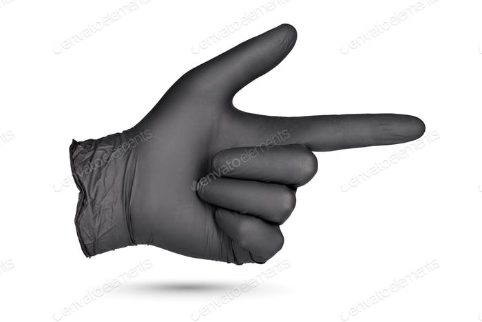 Index finger pointing sign in black glove isolated