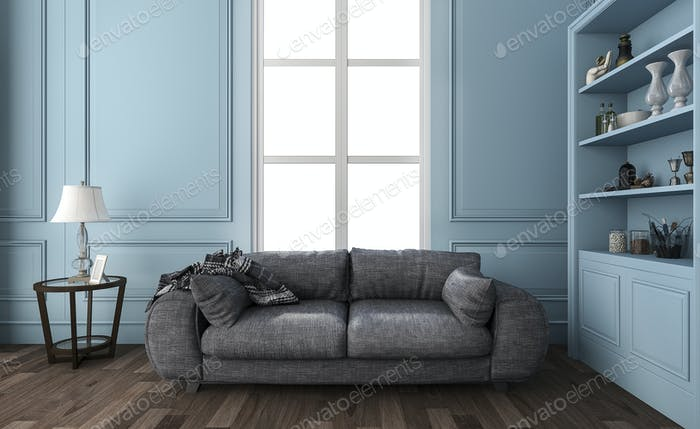 3d rendering nice blue living room with furniture and decorations