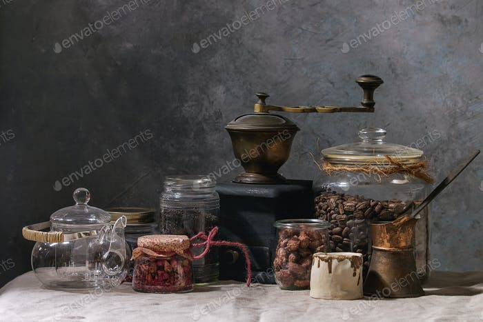 Coffee beans and tea in jars