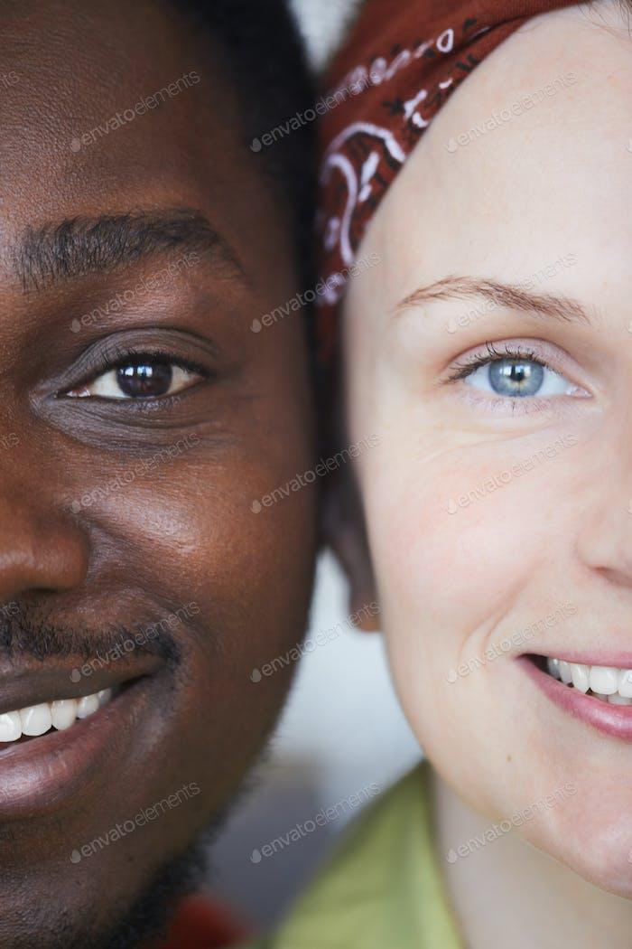Multiracial happy couple