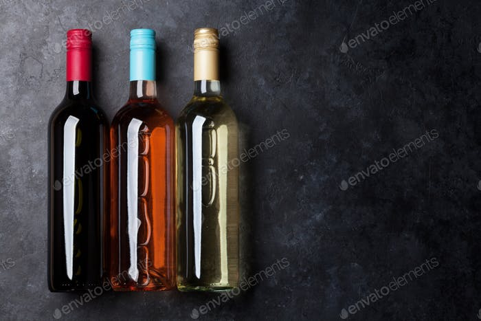 Red, rose and white wine bottles