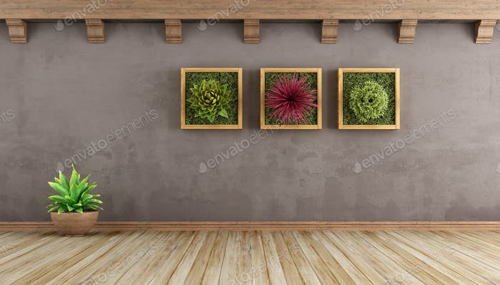 Retro living room with plants