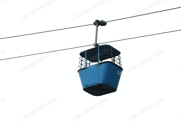Isolated blue gondola lift with cables