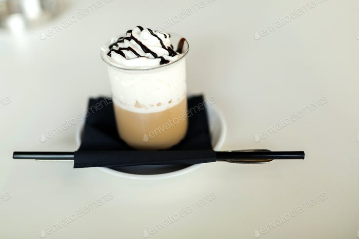 Long coffee with creme and hot chocolate