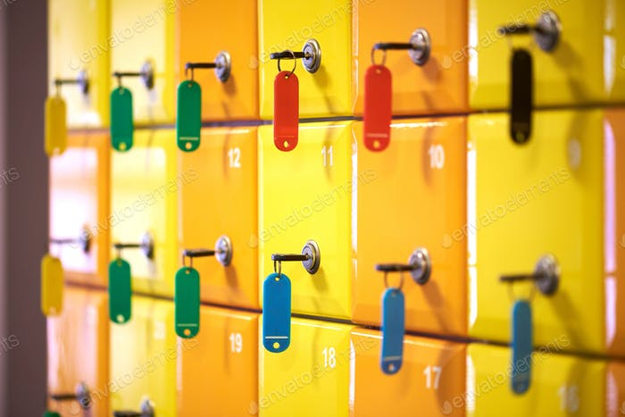 Colored lockers in a sports complex