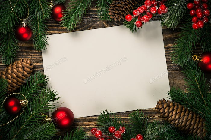 Christmas flat lay background with present and decorations