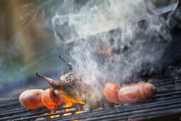 An outdoor cookout. Vegetables and a small game bird cooking over the flames.