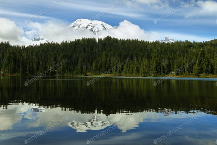 Scenic view of Mount Rainier reflected in reflection lakes