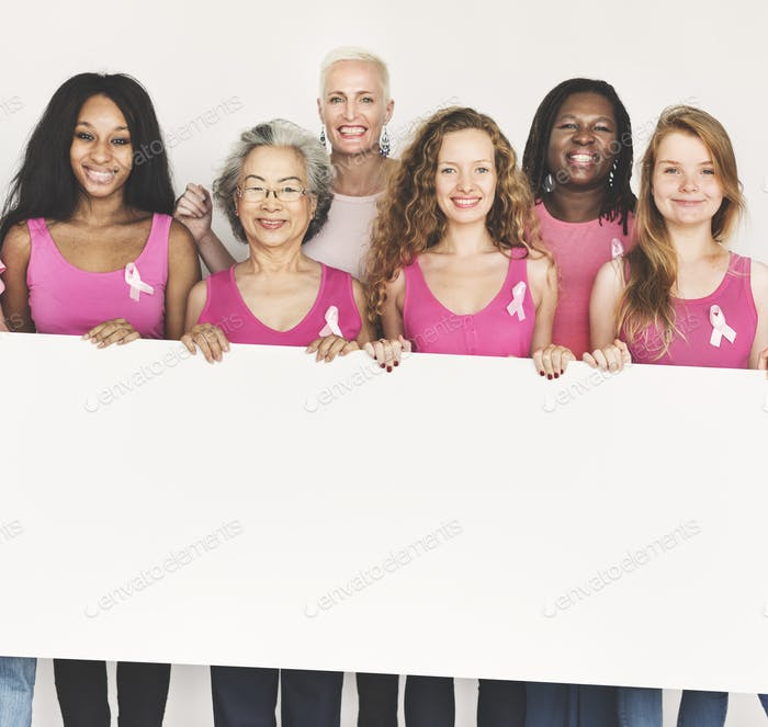 Pink Ribbon Breast Cancer Awareness Copy Space Banner Concept