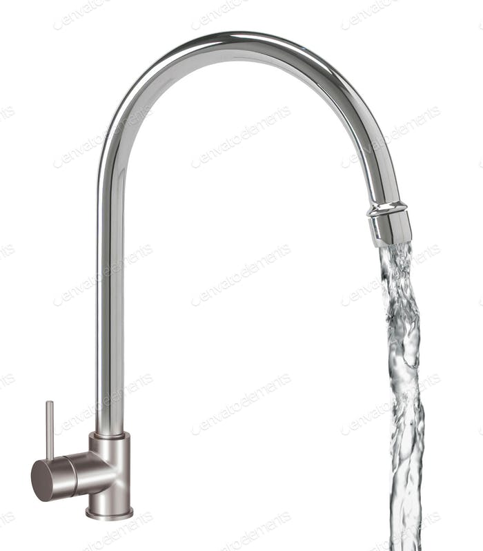 Chrome Water Faucet Isolated on White